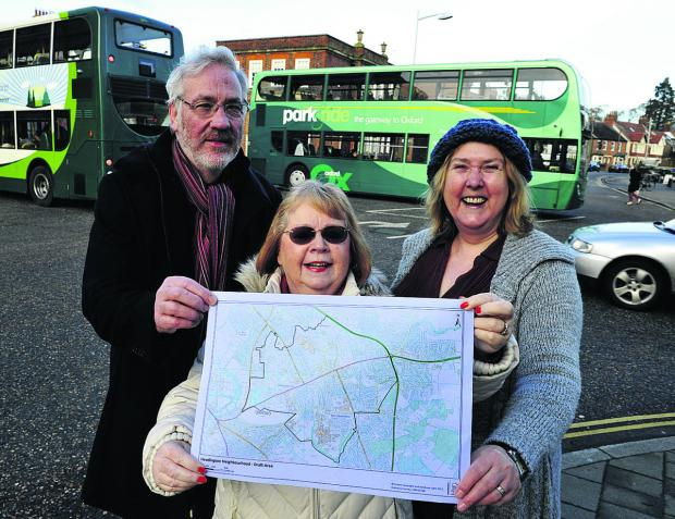 thisisoxfordshire: From left, John Nealon, Liz Grosvenor and city councillor Ruth Wilkinson have six weeks to work out the boundaries of Headington for a neighbourhood plan