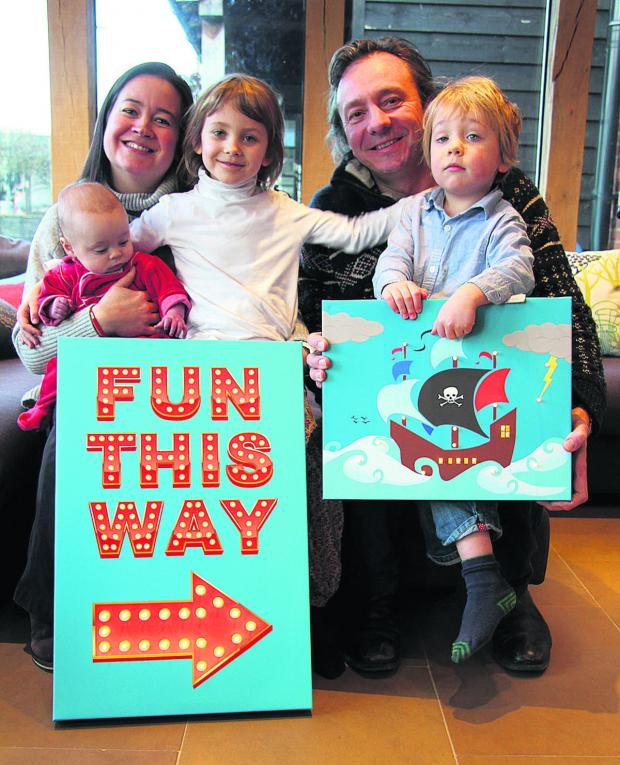 thisisoxfordshire: BRAINWAVE: Rhian and Jez Kicks with children, from left, Idris, Carys and Arlo