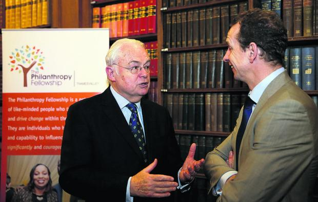 Broadcaster and journalist Martyn Lewis CBE talks to Olympic pentathlete Prof Greg Whyte OBE in the Oxford Union library. Picture: OX65576 Damian Halliwell