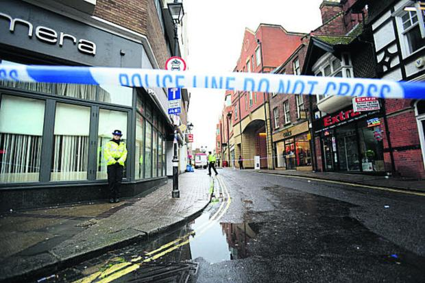 The police cordon at St Ebbe's Street