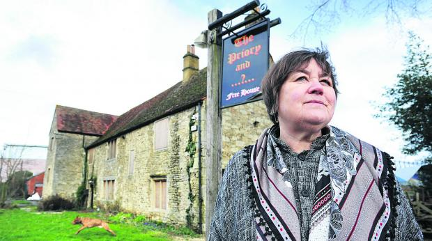 Gillian Argyle, from Oxford Civic Society, at the disused former Priory pub