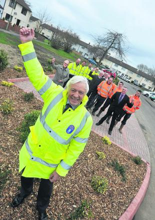 Oxford City Council's Cleaner, Greener services manager Geoff Corps with councillors and staff at the new parking area