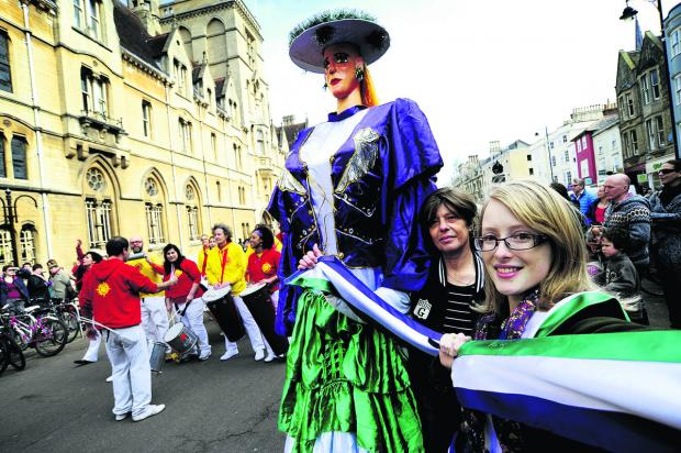 Debbie Hollingsworth, left, and Bethan James are joined by members of Sol Samba