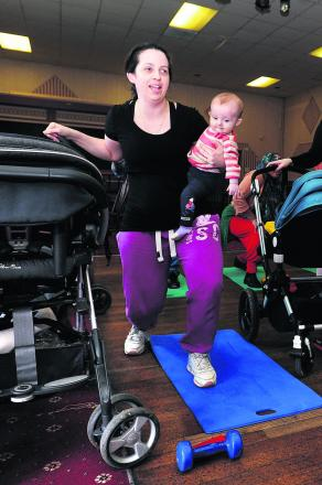 Victoria Parry with six-month-old Rhiannon at the class