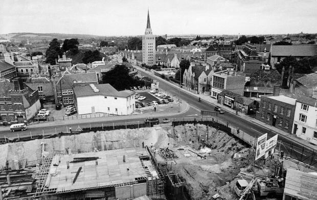 The Westgate development in July 1970 looking past the realigned Castle Street to County Hall and Nuffield College. The £1.8m centre was designed by city architect Douglas Murray and completed in 1972