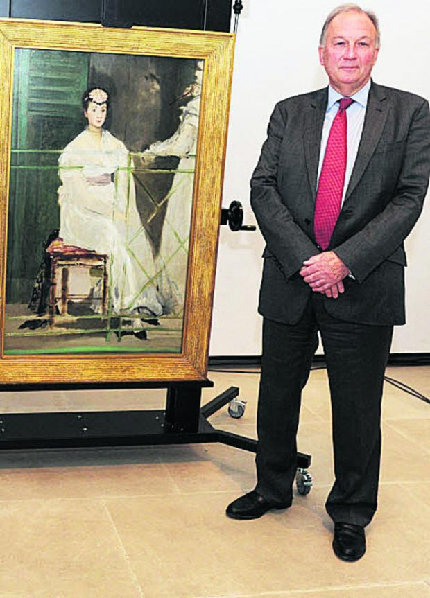 thisisoxfordshire: Ashmolean director Dr Christopher Brown is  pictured, left, at the painting's unveiling after the announcement  it had been