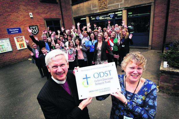 thisisoxfordshire: Wheatley C of E Primary School's headteacher Joan Morters with Bishop of Dorchester Colin Fletcher on Monday