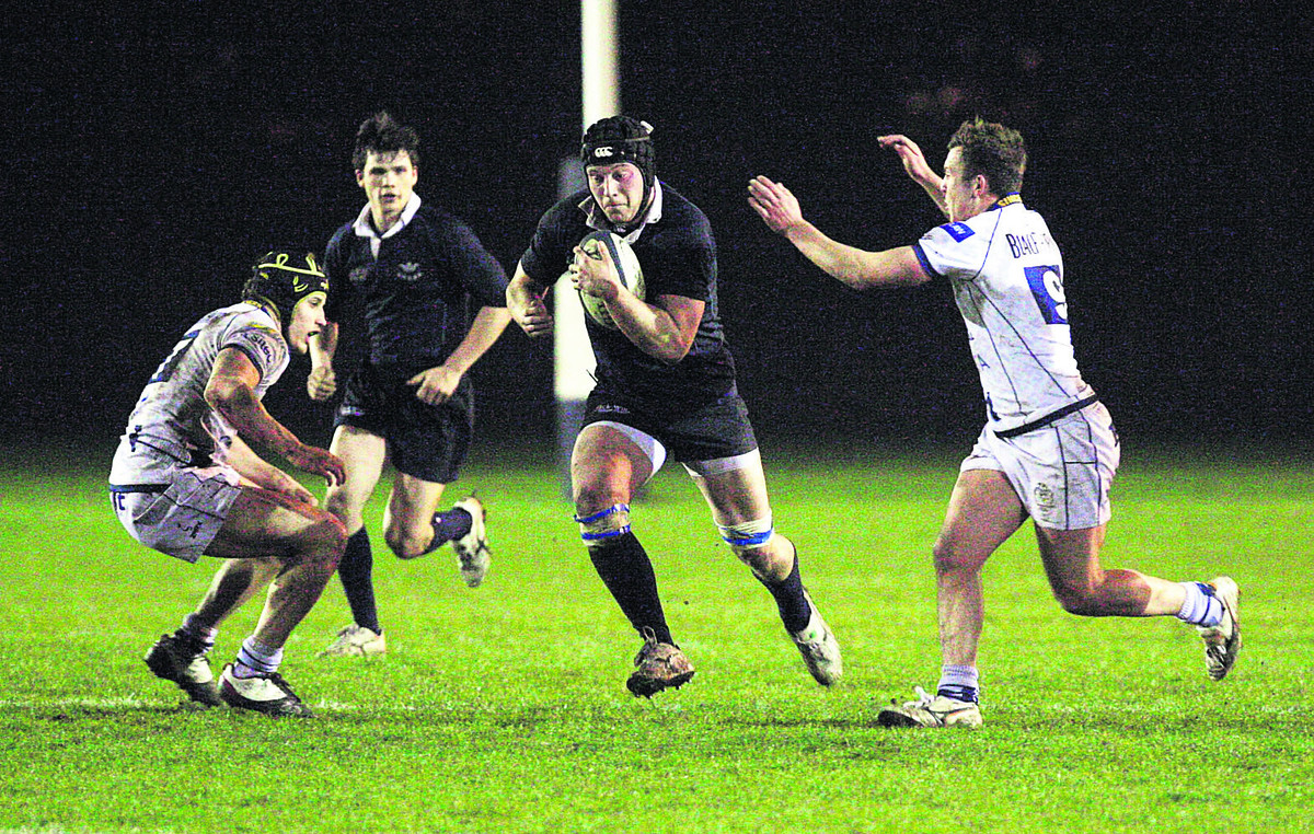 Oxford University's No 8 Fraser Heathcote goes on the charge during the 33-25  victory against Bristol at Iffley Road last night