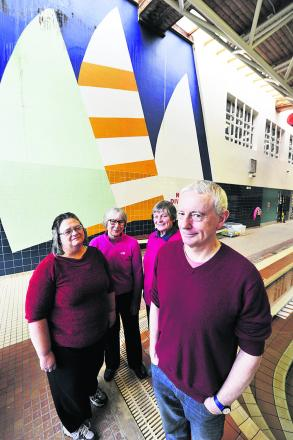 From left, Rosemary Belton, Rosie Martin, Mary Sugden and Chris Coghill with the mural at Temple Cowley Pools