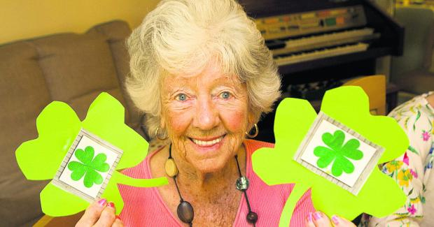 Jennie Barnes, 89, celebrates St Patrick's Day at Yarnton Residential and Nursing Home