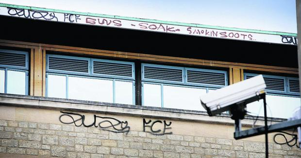 thisisoxfordshire: Graffiti sprayed on the top of the Clarendon Centre in Cornmarket