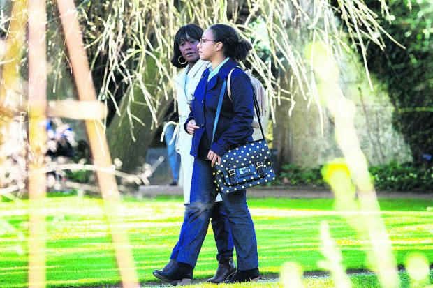 Denise Fox, left, played by Diane Parish, and Libby Fox, played by Belinda Owusu,