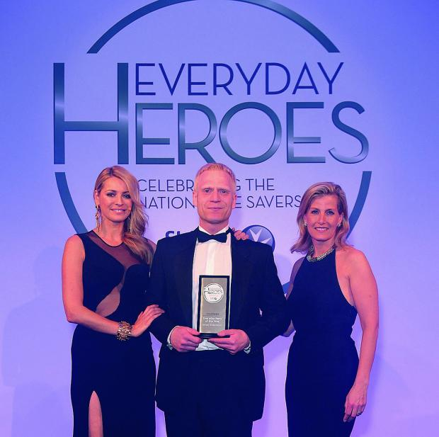 thisisoxfordshire: Everyday Hero of the Year winner Simon Underwood with the Countess of Wessex and TV star Tess Daly