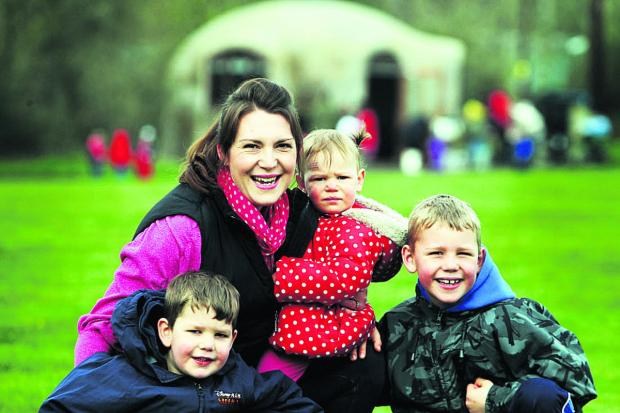 thisisoxfordshire: Rachel Tilbrook with children Harry, four, Amelie-Rose, one, and Rowan, seven