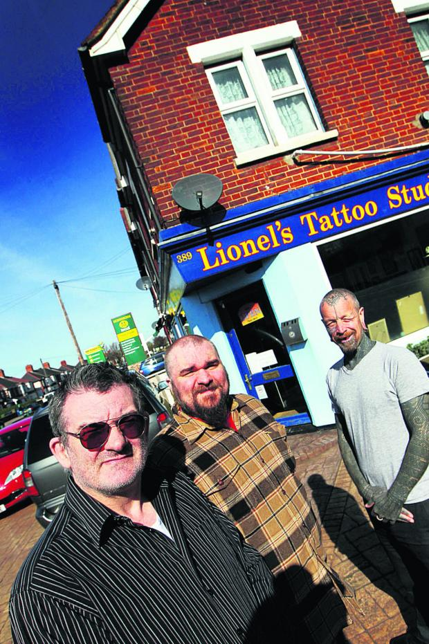 thisisoxfordshire: From left, Lionel Titchener, Barny Titchener and Curly Moore at Lionel's Tattoo Studio. Picture: OX66161 Ed Nix