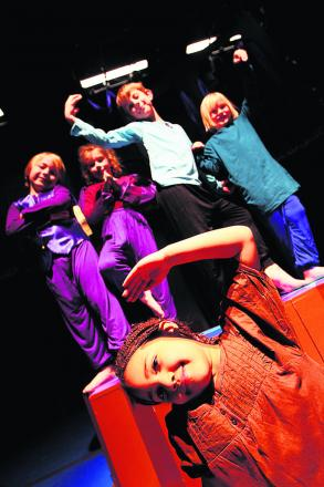 Abby Hawkesworth, six, front, with, rear from left, Linus Hesjdal, seven, Kate Mackay, seven, Max Campbell, eight, and Bruno Benson, six, who are all taking part in Stories for Survival