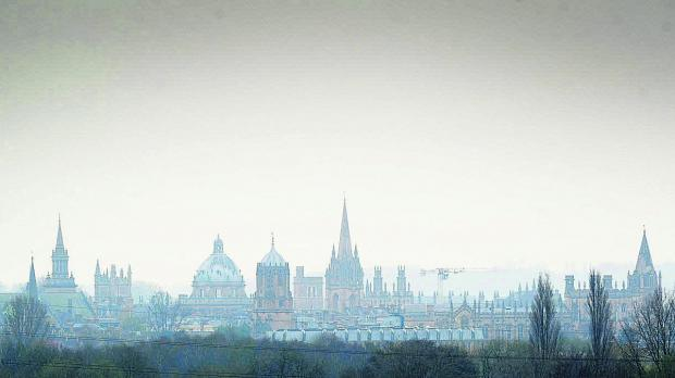 The Oxford skyline yesterday afternoon as pollution levels rose to moderate levels.Picture: OX66377 Jon Lewis