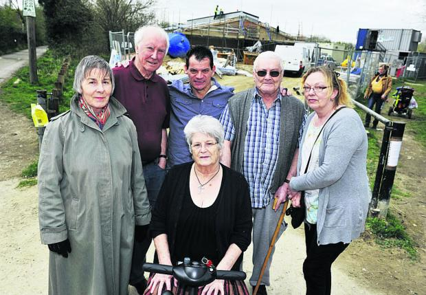 Angry Grandpont residents, from left standing, Carolyn Dean, Peter Berry, David Bean, Ray Davis and Dawn Poppleton; front, J