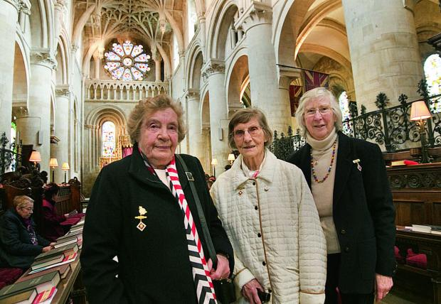 War Widows Association members, from left, June Harrison, Ena Mitchell and Sylvia Street at Christ Church Cathedral