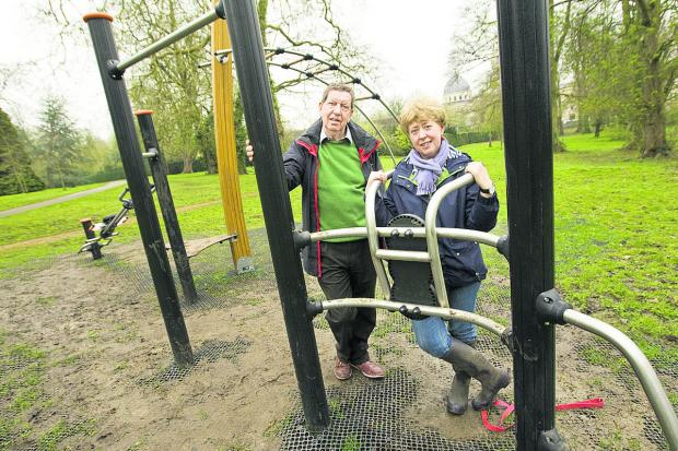 City councillor Roy Darke and Marie Power, of the Friends of Headington Hill Park who are unhappy at the places fitness equipment has been installed