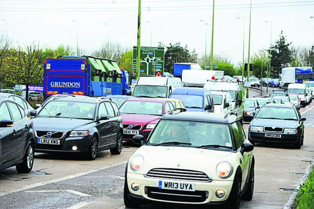 thisisoxfordshire: Traffic delays on the Botley Interchange yesterday morning