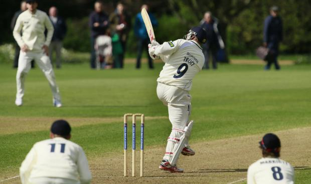 thisisoxfordshire: Jonathan Trott is out as he lofts the ball to fine leg