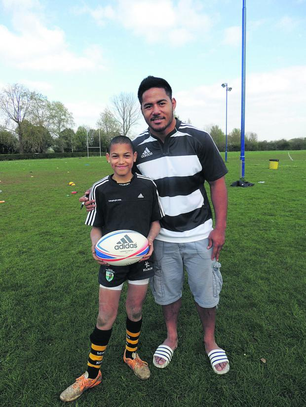 thisisoxfordshire: Members of Oxford Harlequins' minis junior section received some top tips from  British Lion and England star Manu Tuilagi and Leicester's Samoan player Logovi'i Mulipola at the Marston Ferry Road training ground this week.  They were there as part of