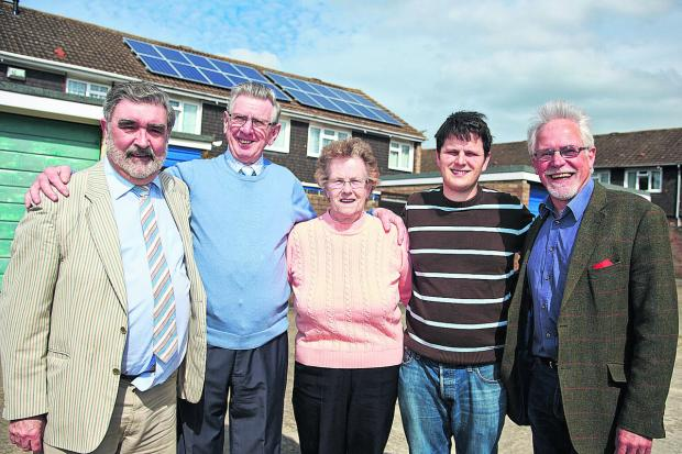 thisisoxfordshire: City councillors David Williams, left, Scott Seamons and John Tanner, right, with Valerie and Fred Parrott outside their home