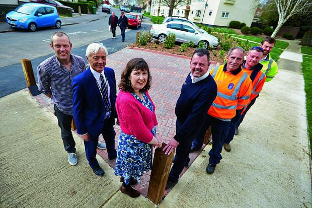 From left, Mark Lygo, Geoff Corps, Susan Brown, Richard Hurst, Rodney Knight, Scott Moore and Oliver Hearn at the new parking area