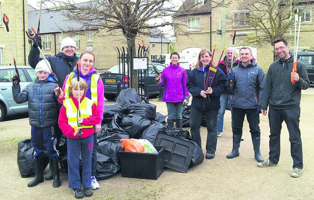 thisisoxfordshire: Members of the tidy-up team, Becky, Joseph and Sophie Raven, Nicky and Ian Mellings, Benjamin and Ralph Anker, Adie Gargan, and Chris Holliday