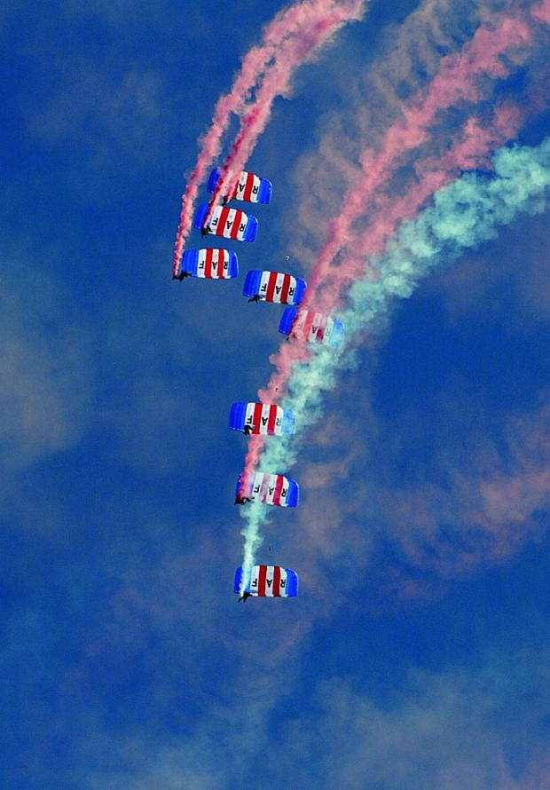 thisisoxfordshire: The vibrant picture of the parachute team snapped by Adi Webb from his mum's house