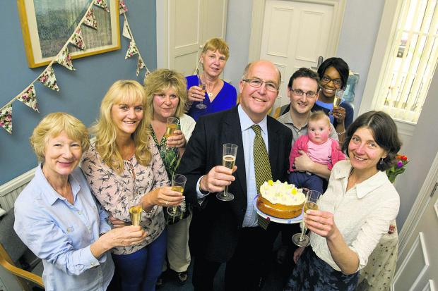 Dr John Sichel, centre, is retiring after 30 years at 28 Beaumont Street. He is joined at the surgery by Elaine Worley, Jane Belcher, Jayne Manuell, Susan Brain, Dr Matthew Easdale with daughter Charlotte, Carly Molloy and Dr Clare Stephens