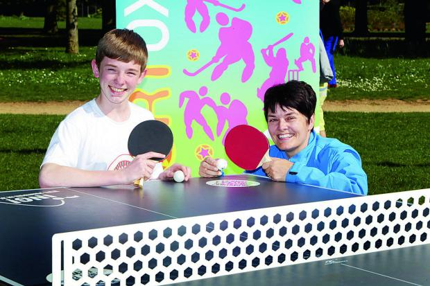 thisisoxfordshire: Simon Price, 16, with Oxford City Council's schools sports development officer, Margaret Stevens, at a table tennis table in Cutteslowe Park, North Oxford
