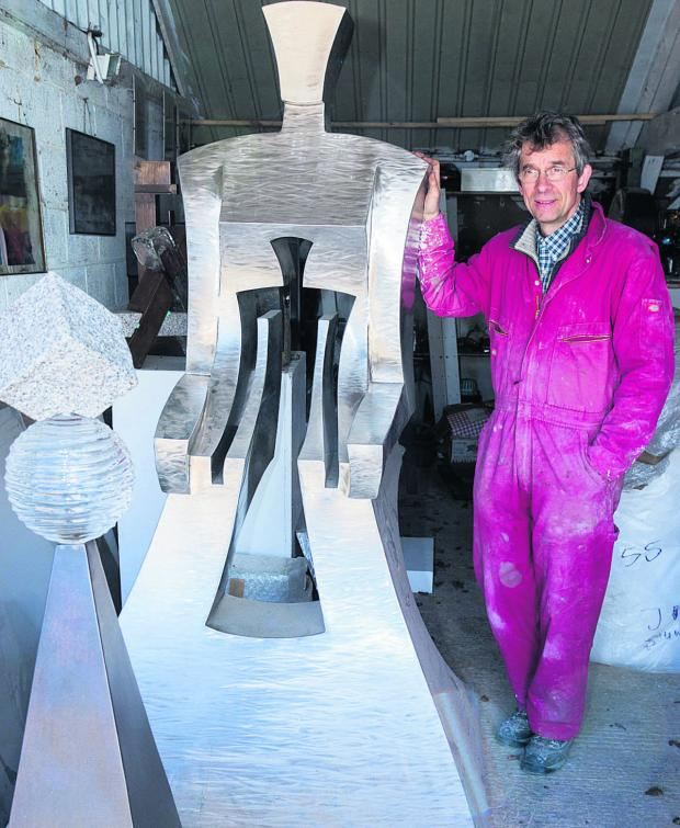 thisisoxfordshire: Johannes von Stumm, artist and sculptor, with one of his pieces at his studio in South Fawley. Picture: OX66557 Greg Blatchford
