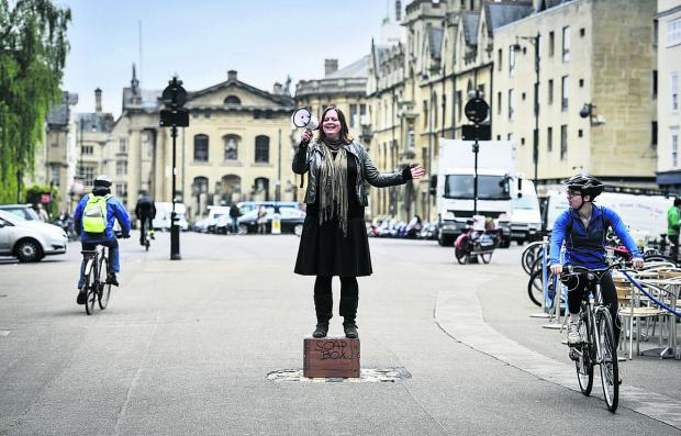 Michelle Walker, of Oxford Playhouse, gives the Broad Street soapbox a test run