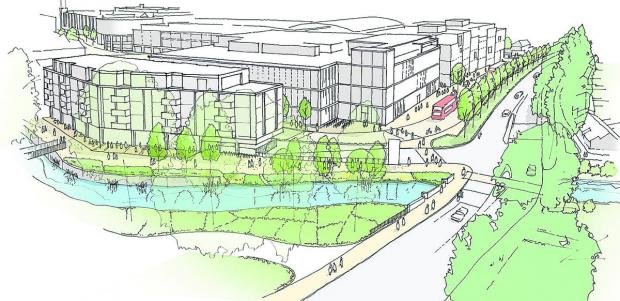 thisisoxfordshire: An artist's impression of the new Wesgate Centre, looking along Thames Street from Oxpens with the Castle Mill Stream in the foreground