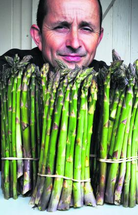 Charlie Gee with the first asparagus of the season