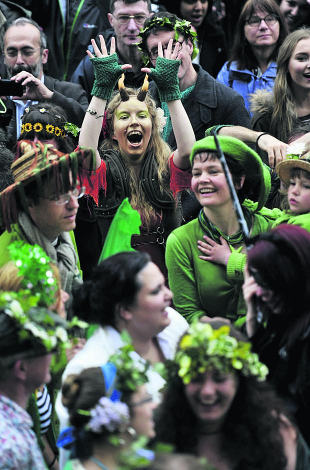 thisisoxfordshire: Let's celebrate: Revellers dressed in green for the occasion