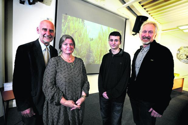 thisisoxfordshire: HONOURED: From left, Dr John Hemingway and his wife Sue, Cameron Small and one of the judges Miles Waters