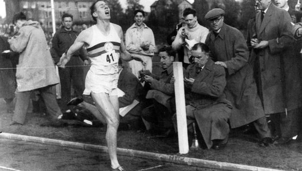 Sir Roger crosses the line to break the four-minute mile for the first time on May 6, 1954