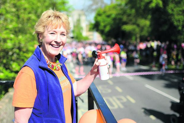 thisisoxfordshire: AND THEY'RE OFF: Christine Hamilton starting last year's Town and Gown race. She will perform the role again on Sunday and is urging people to take part