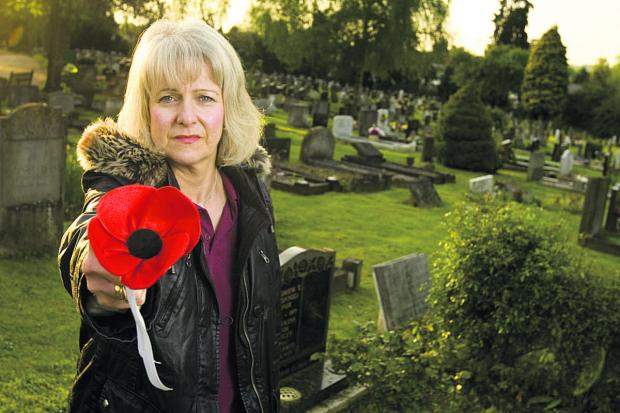 thisisoxfordshire: Susan Nicholls at the grave; below, Lance Corporal Michael Hall. Picture: OX66841 Antony Moore
