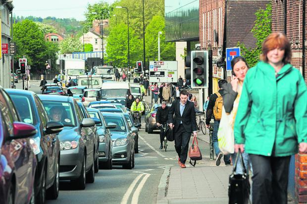thisisoxfordshire: Traffic at a standstill in Hythe Bridge Street