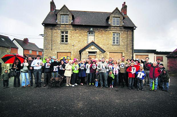 Villagers protesting about the pub closure in 2010