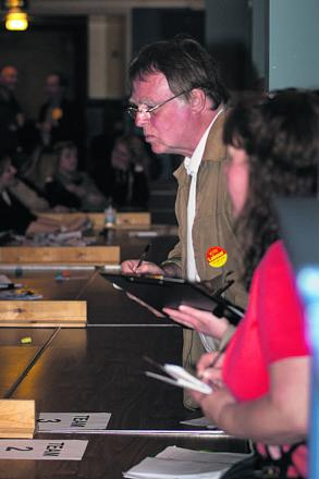 Andrew Smith, MP for East Oxford observing the ballot count at the Oxford City Council elections last year