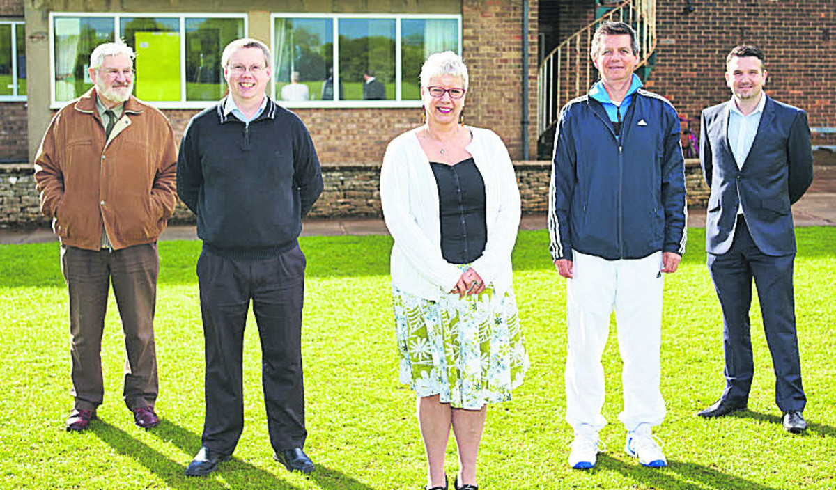 From left, Paul Smith of Witney Pistol Club, town councillor Alan Beames, Sue Wilson, Chris Pyne and Ben Woodruff at West Witney Sports Ground