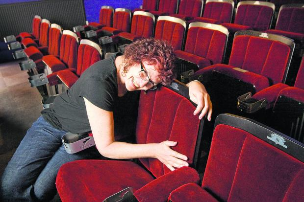 thisisoxfordshire: Becky Hallsmith enjoys the new seats at the Ultimate Picture Palace. Picture: OX67308 Antony Moore