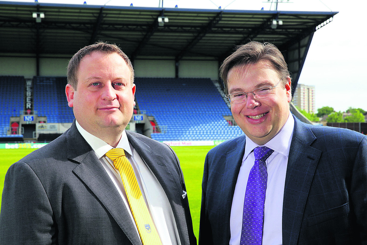 Oxford United commercial director Tony Davison, left, with director at Isinglass Consulting Paul Charles