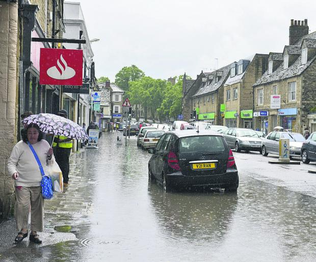 Flooding in Witney High Street yesterday