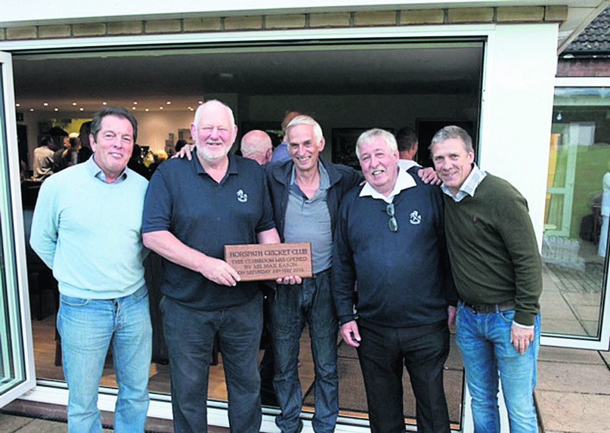 Horspath members at the opening of their new clubhouse. From left: John Hilland, Max Eason, Clive Ricks, Peter Walker, Pete Wright